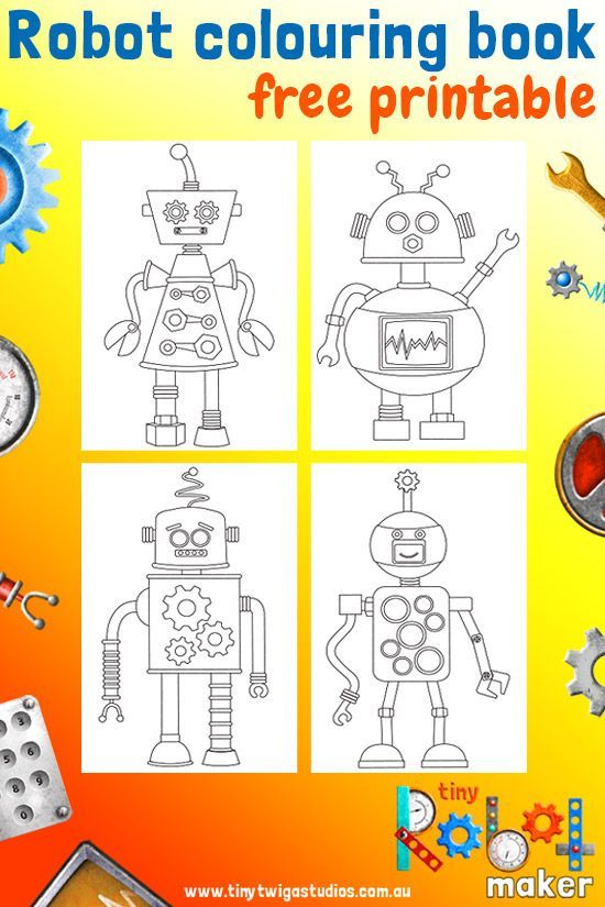 Tiny Robot Maker Mini Colouring Book Printable Make Your Own Colourful Robots And Save Your Designs Coloring Books Robot Birthday Party Maker Fun Factory Vbs