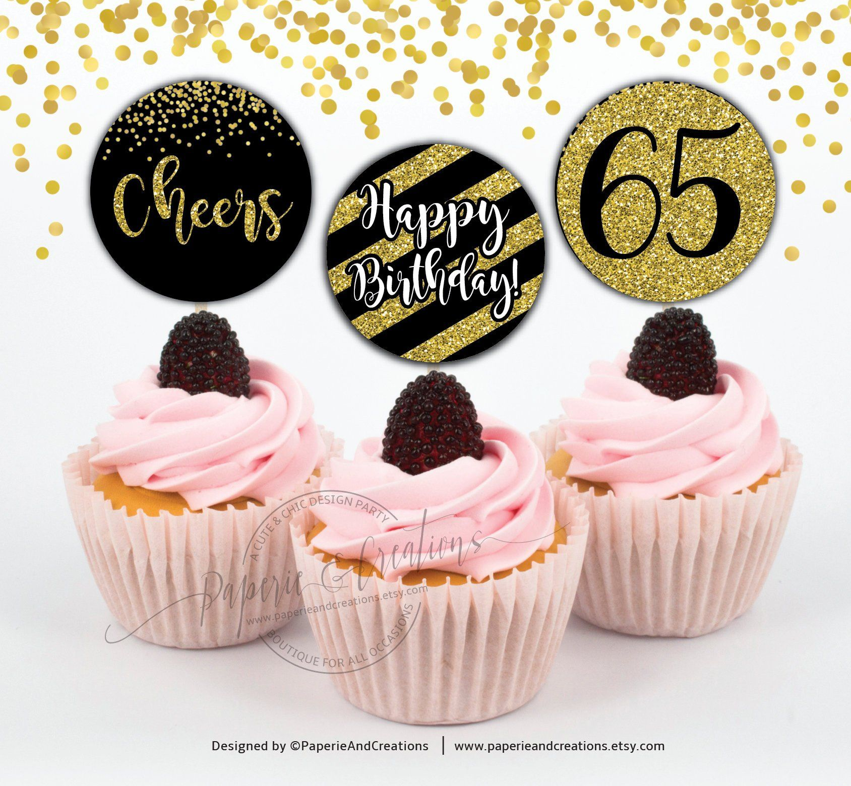 Cupcake Toppers 65th Birthday