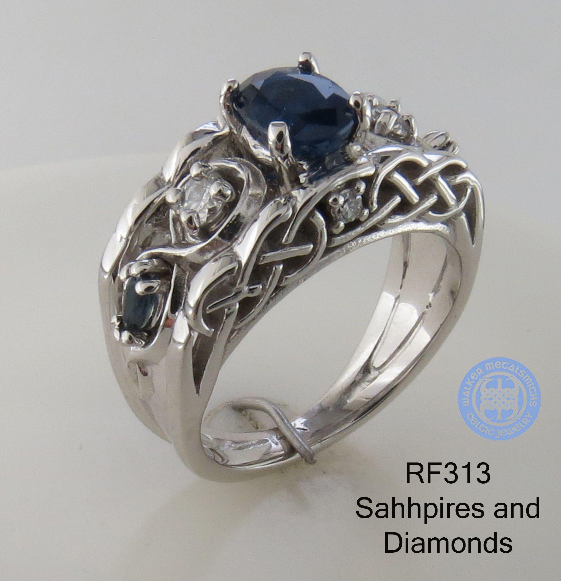 Unique Celtic Irish Engagement Wedding Ring In 14k White Gold With Diamonds And Sapphi Celtic Wedding Rings Wedding Rings Engagement Celtic Wedding Rings Irish