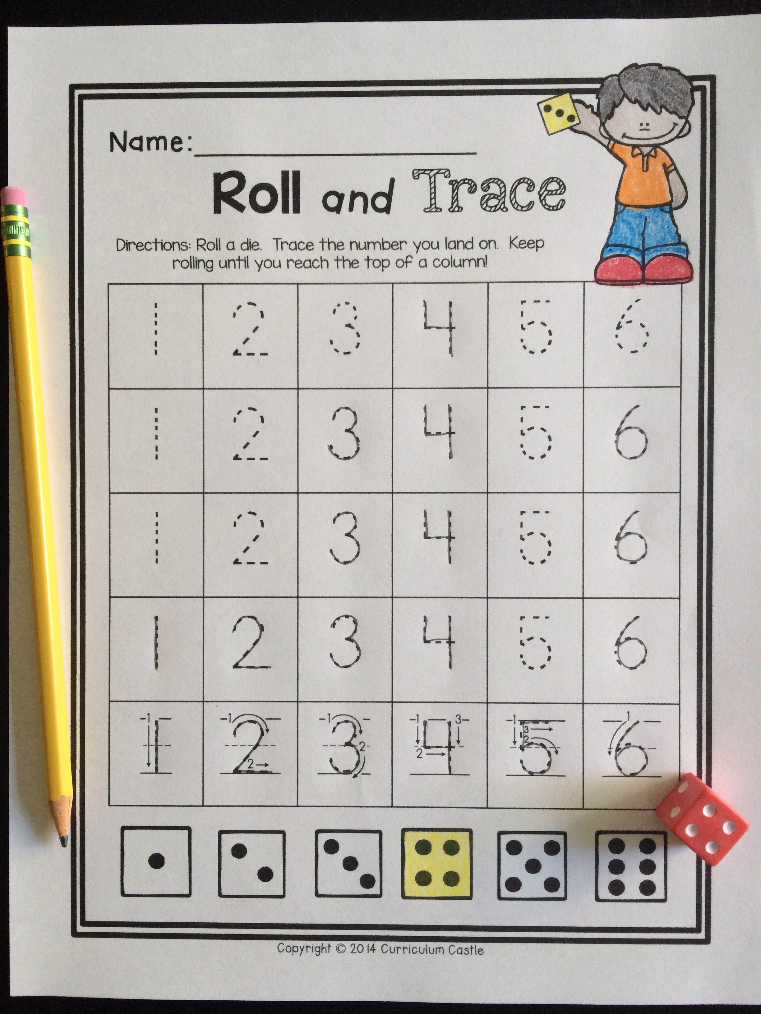 Kinder Garden: Back To School Kindergarten Math: Roll And Trace A Number