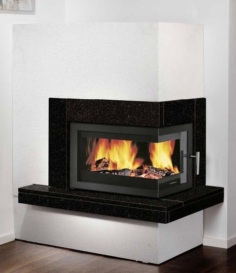 Right corner wood burning fireplace google search for Modern wood burning fireplace insert