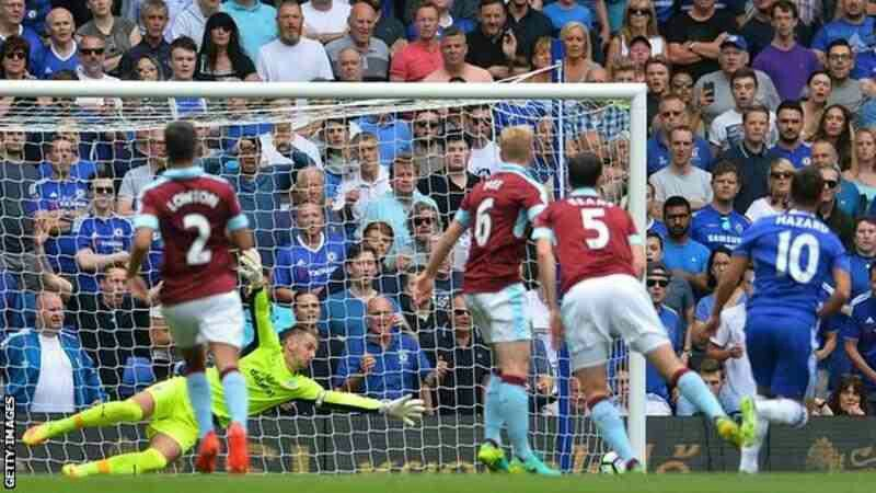Chelsea 3 Burnley 0 in Aug 2016 at Stamford Bridge. Eden Hazard scores after 9 minutes and its 1-0 to Chelsea #Prem