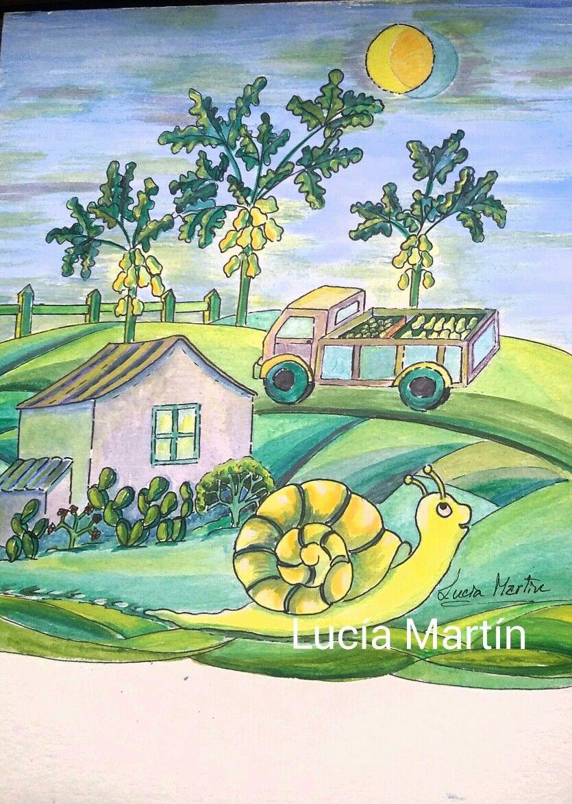"""Ilustración  de Lucía Martín para el cuento """"Caracol Aventurero """" de J.Nieto."""