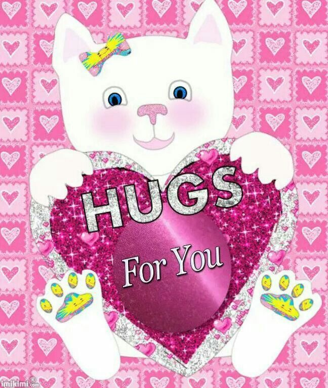 """A CAT HOLDING A PURPLE HEART WITH THE WORDS """" HUGS For You"""