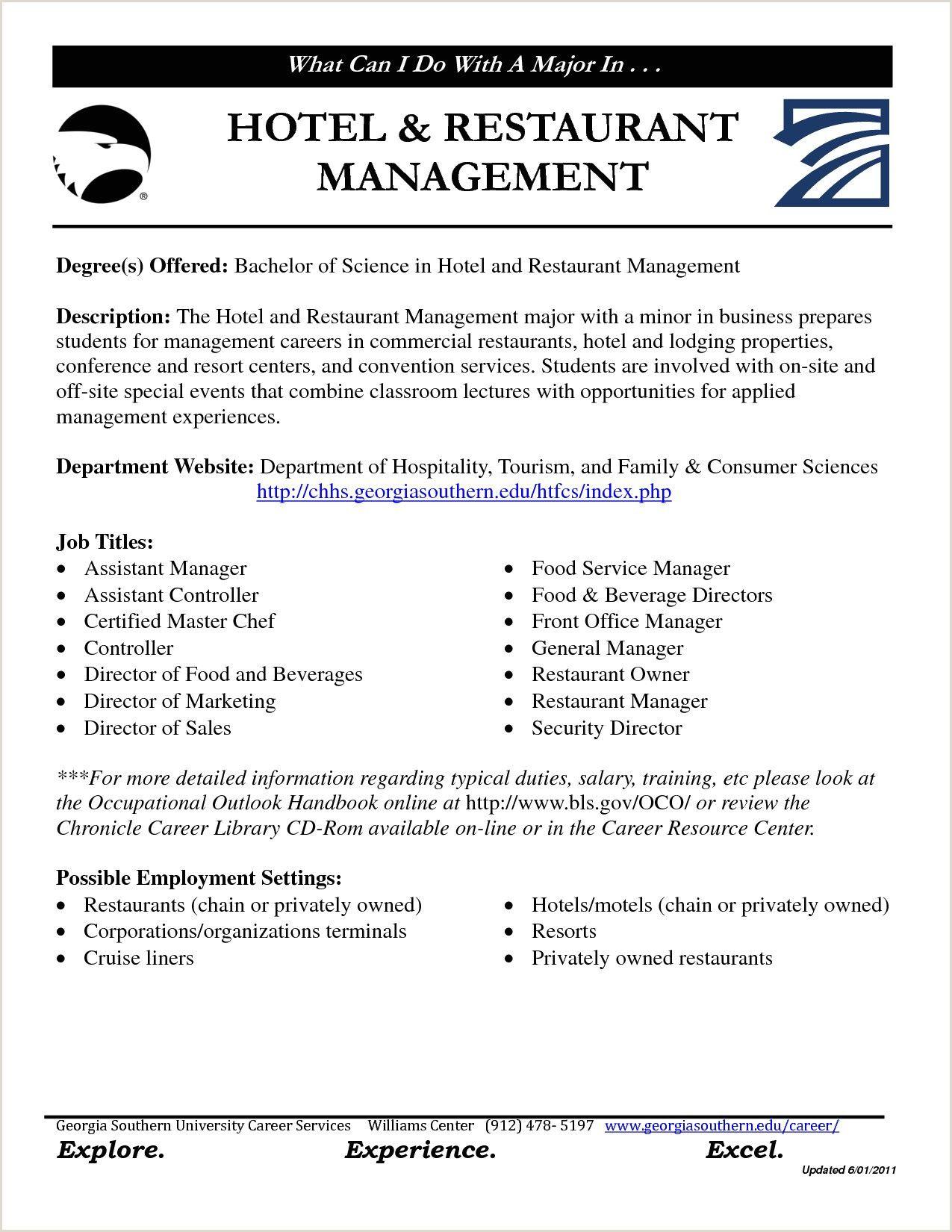 Cv Format For Fresher Hotel Management Restaurant Management Manager Resume Resume Template Examples