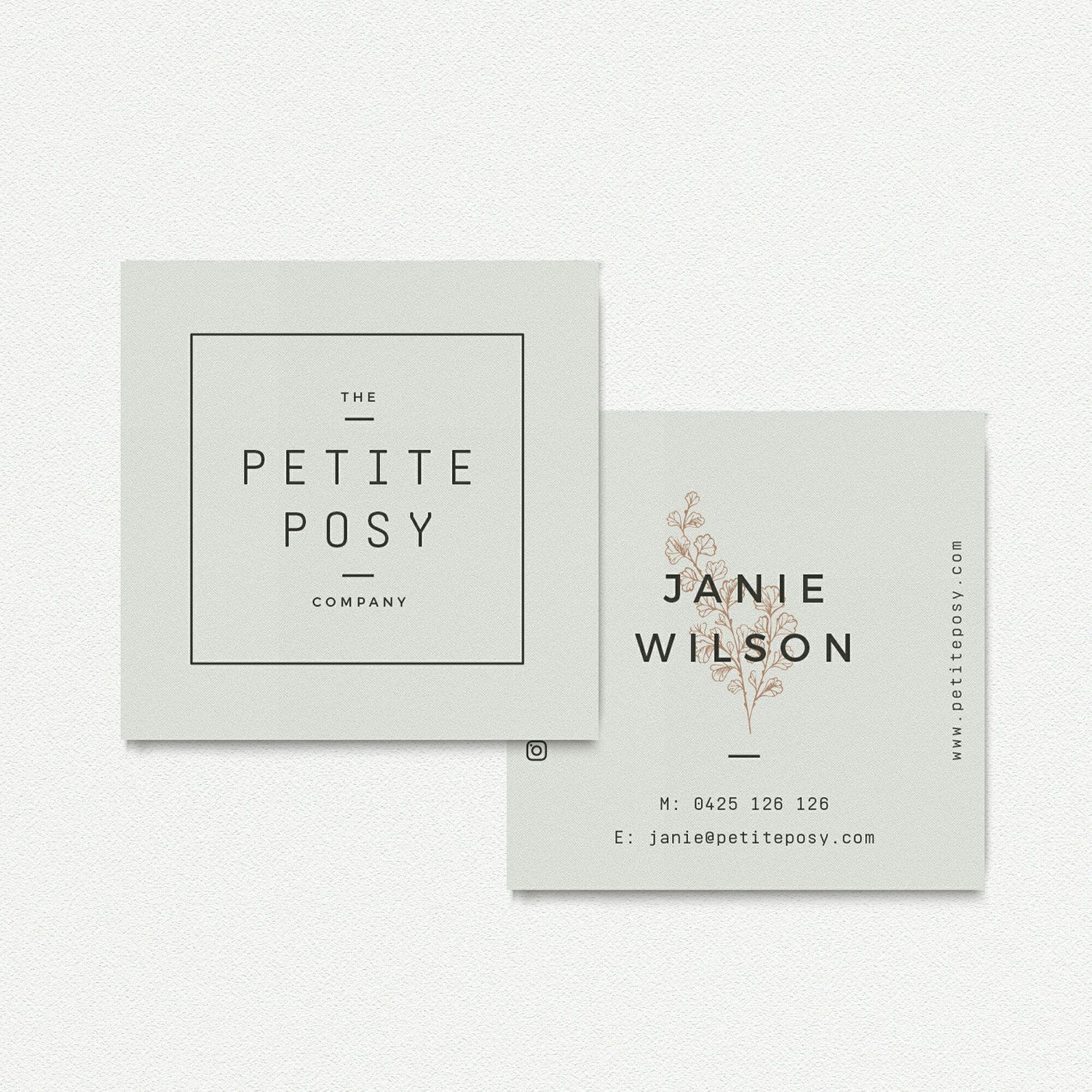 Modern, square business card design for a florist. | Graphic Design ...