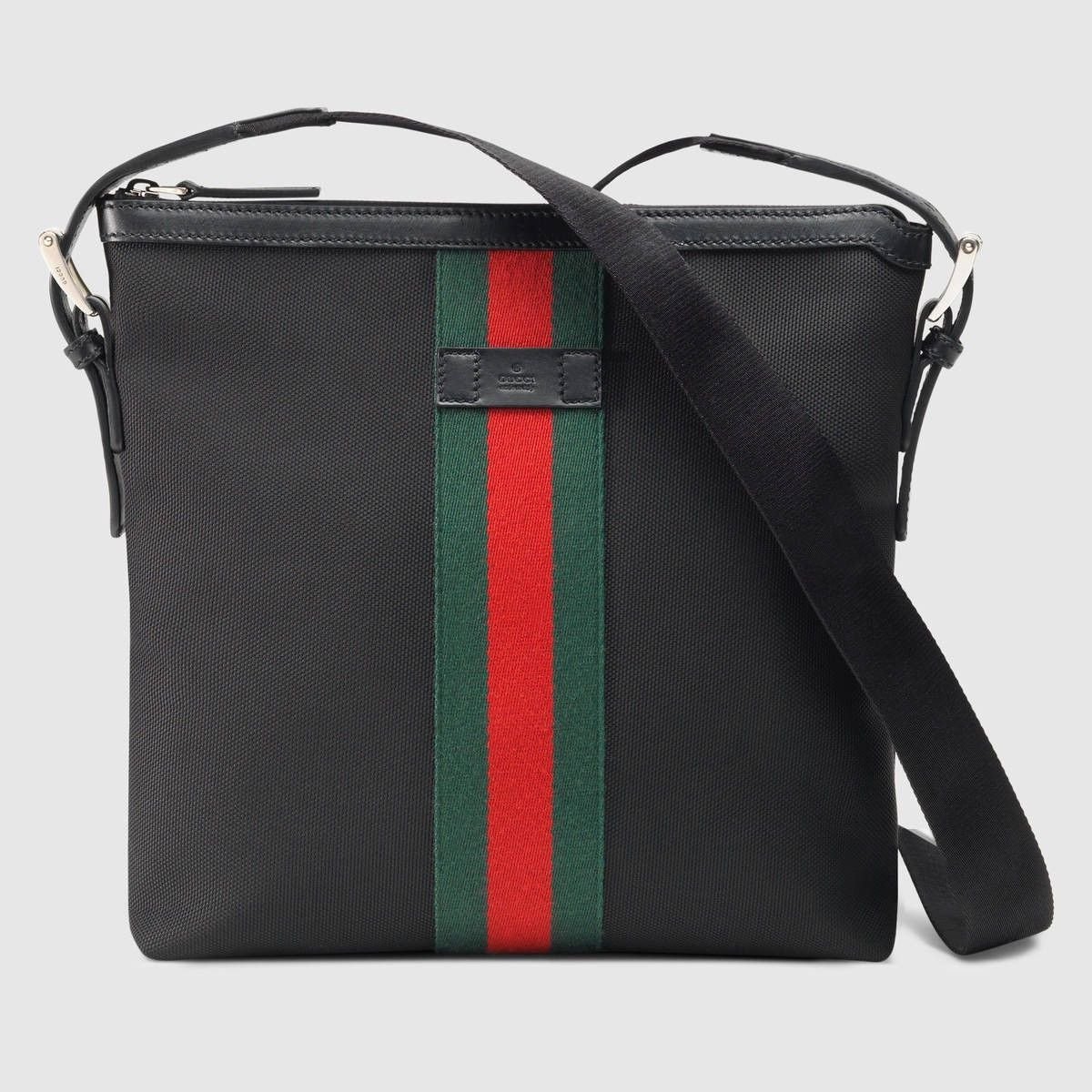 GUCCI Web Small Messenger Bag - Black.  gucci  bags  shoulder bags  leather   nylon  lining   051e32126adf5