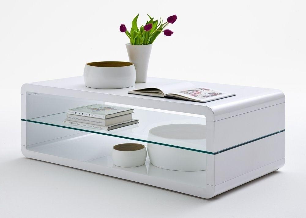 Couchtisch Nicolo Wohnzimmertisch Weiß Hochglanz mit Glasablage - wohnzimmertisch wei hochglanz