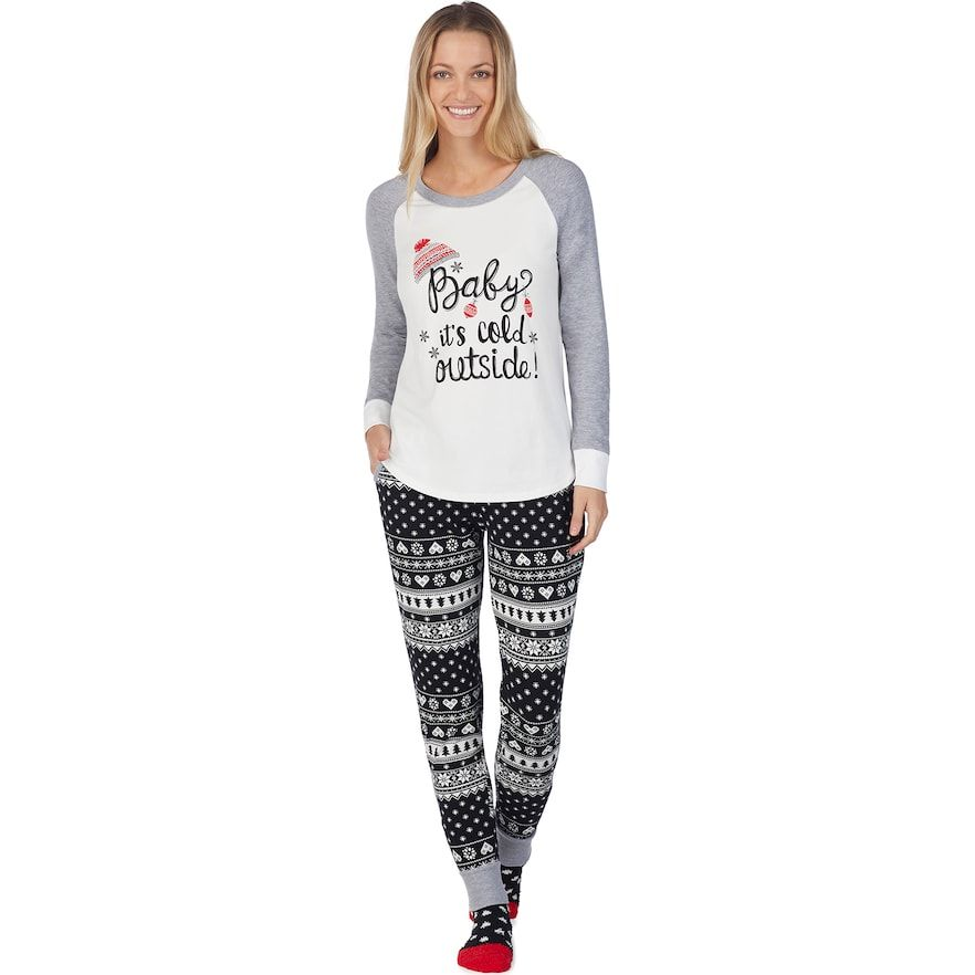 1944351a5d1f Women's Cuddl Duds Dreamer 3-piece Graphic Tee & Joggers Pajama Set, Grey  (Charcoal)