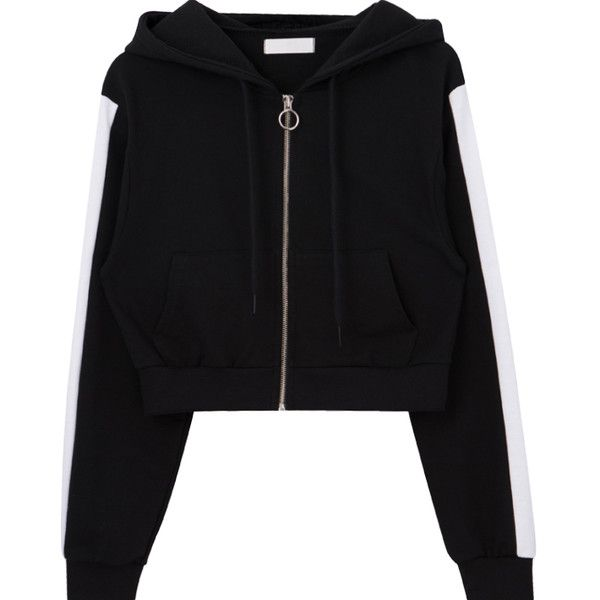 Contrast Sleeve Panel Cropped Zip Up Hoodie 35 Liked On