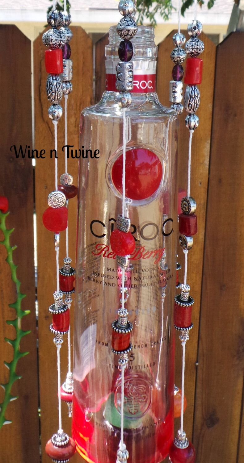 Recycled Red And White Ciroc Vodka Bottle Wind Chime Wind Chimes Ciroc Vodka Red And White