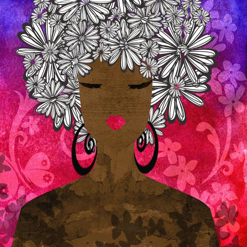 Image result for art afro hair with daisies