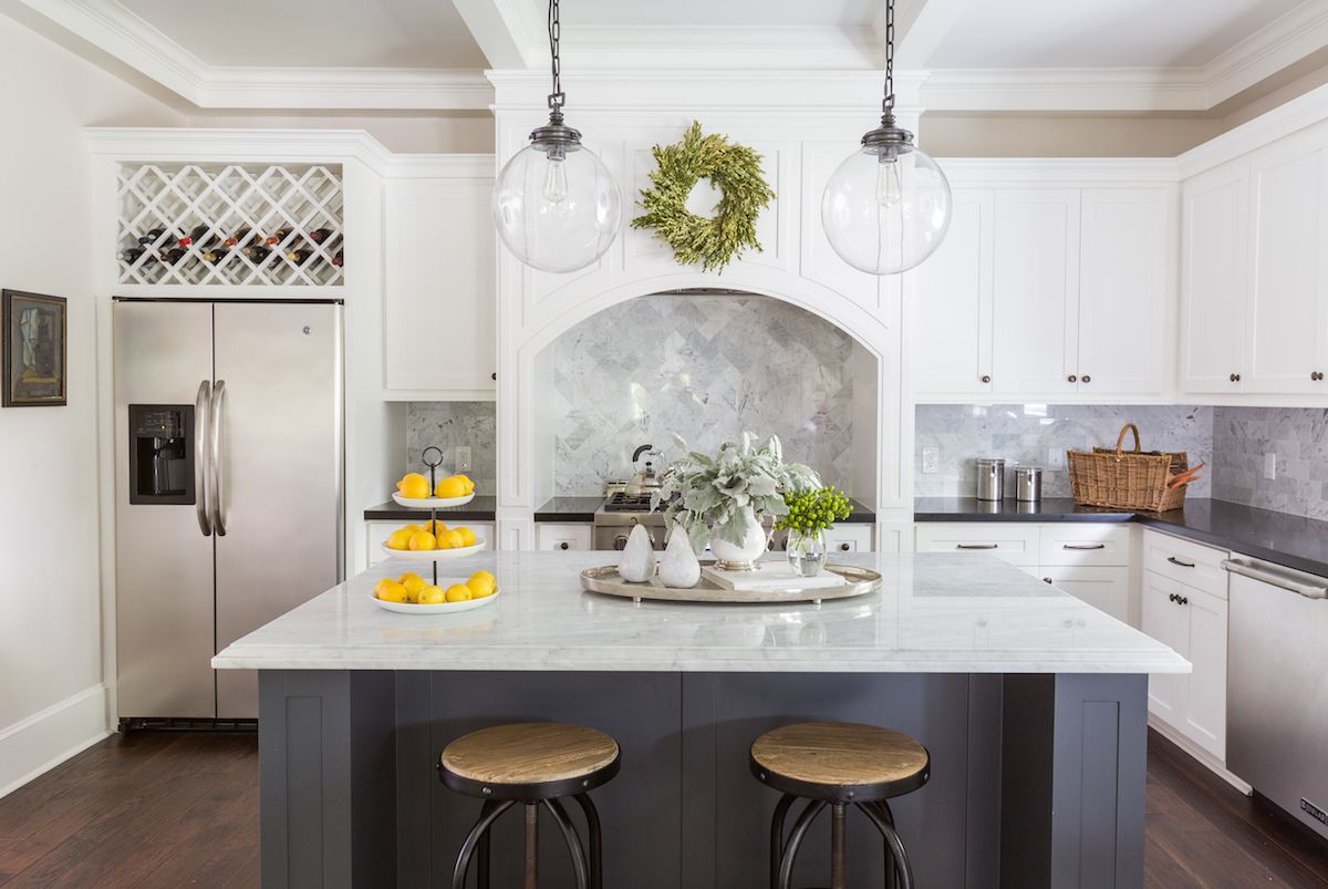 Marie\'s Timeless Craftsman Home | Navy kitchen, Marbles and Kitchens