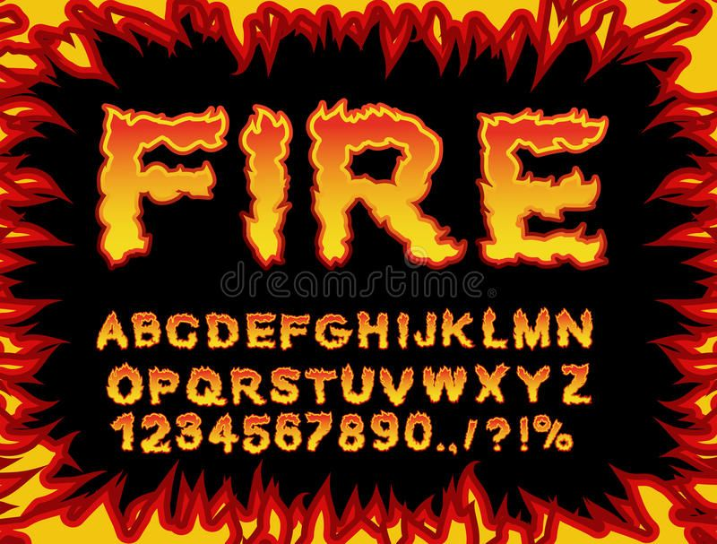 Photo about Fire font  Flame Alphabet  Fiery letters