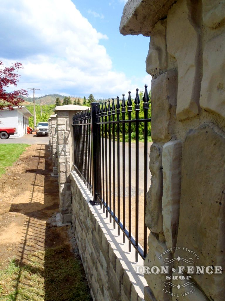 3ft tall Classic style wrought iron fence installed on a