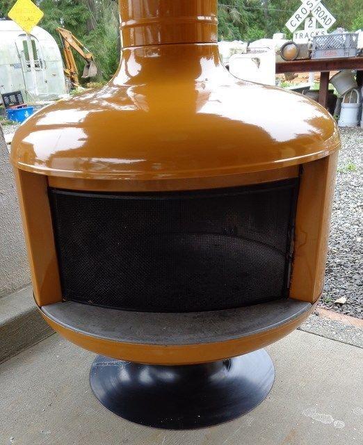 Rare Malm Fire Drum Yellow Mustard all original fireplace stove