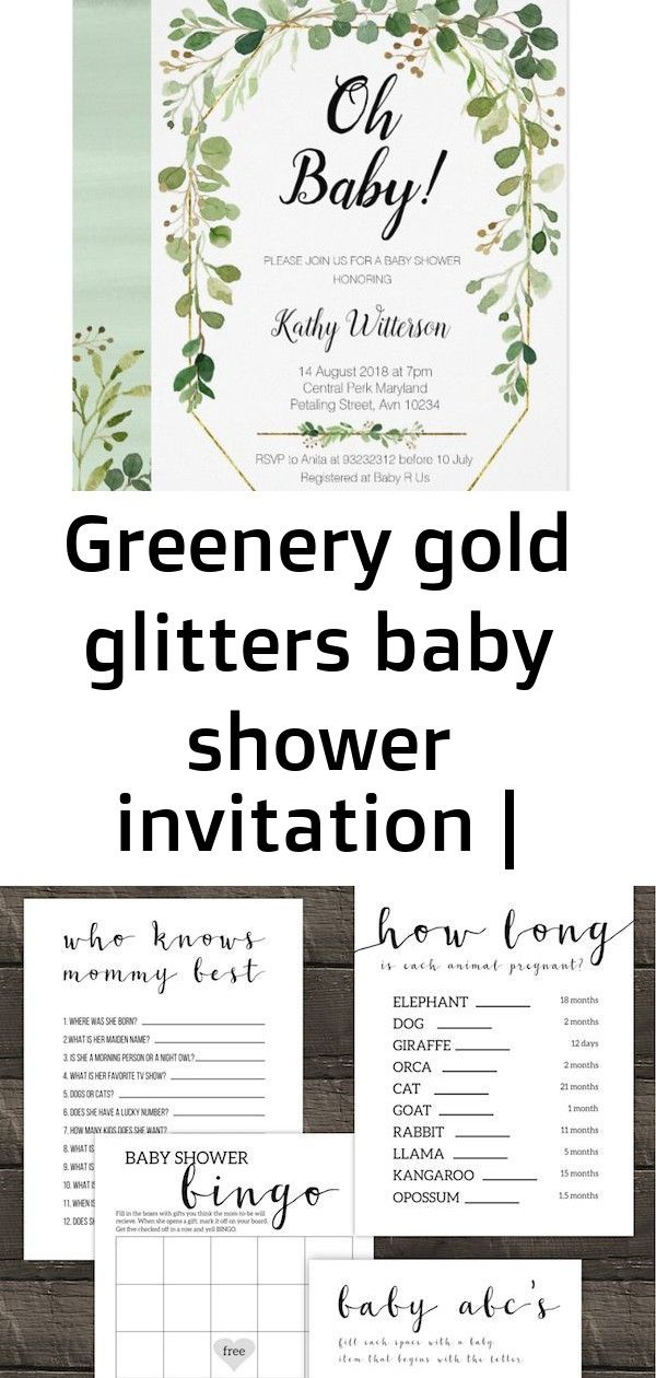 Greenery gold glitters baby shower invitation    Greenery Gold Glitters Baby Shower Invitation Baby, Free Printable Baby Shower Games. Best simple and easy DIY games for boy, girl, or gender neutral baby shower that aren't lame. $freeprintable Discover the most stylish decorations for the baby bedrooms by checki