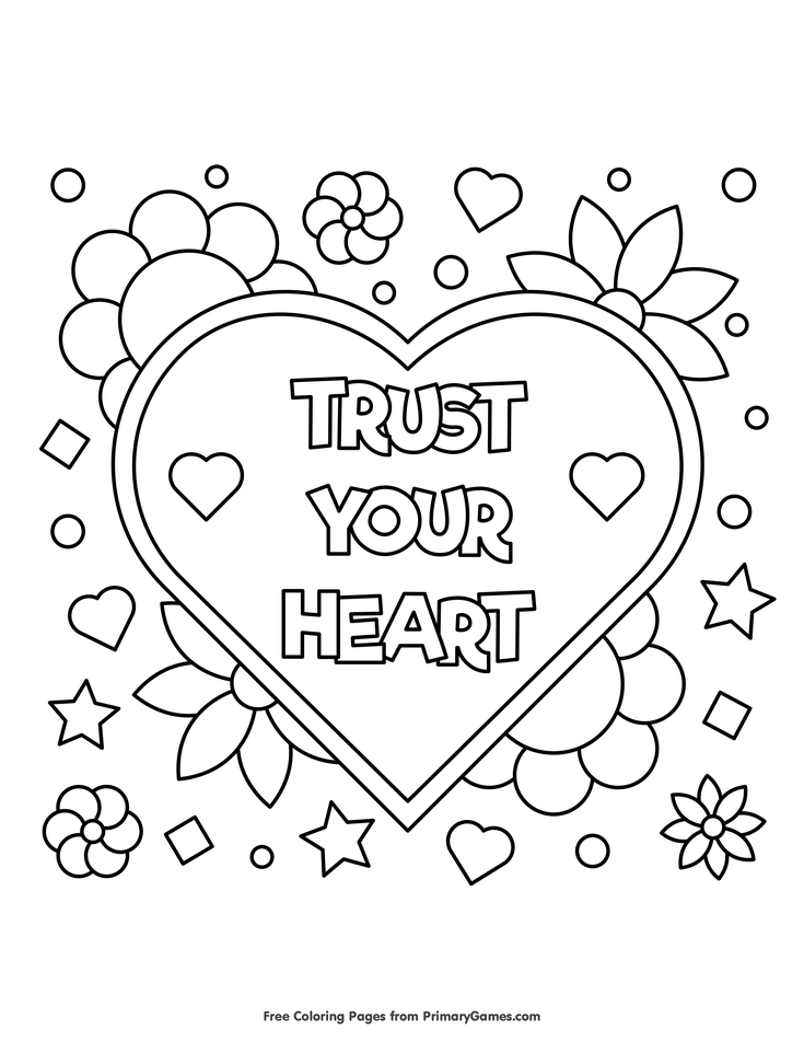 Valentine\'s Day Coloring Pages eBook: Trust Your Heart | Valentine\'s ...