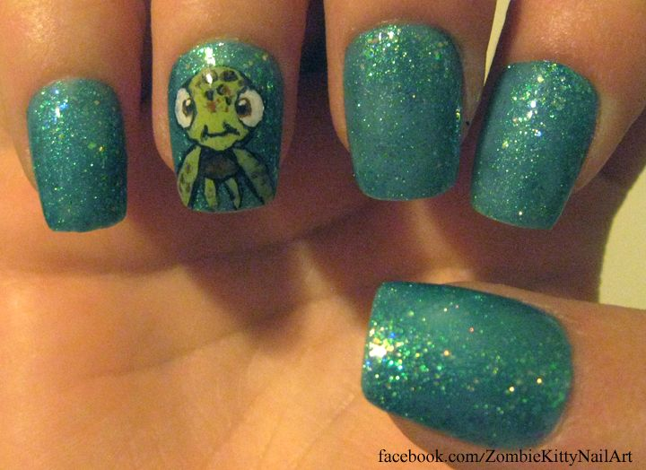 My first nail art was squirt from finding nemo finding nemo prinsesfo Gallery