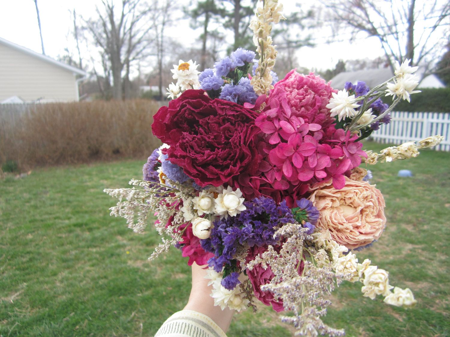Bridal Bouquet with Naturally Dried Flowers for Country, Farm, Vintage Chic Wedding Eco-friendly Keepsake for your wedding day. $65,00, via Etsy.