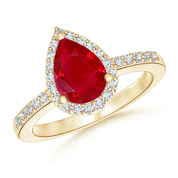 Angara Diamond Halo Ruby Split Shank Engagement Ring in 14k Yellow Gold tuIVjVl
