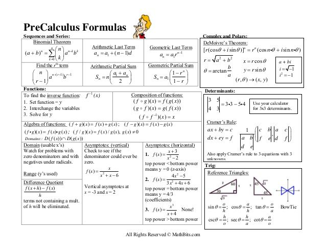 precalculus formulas sequences and series