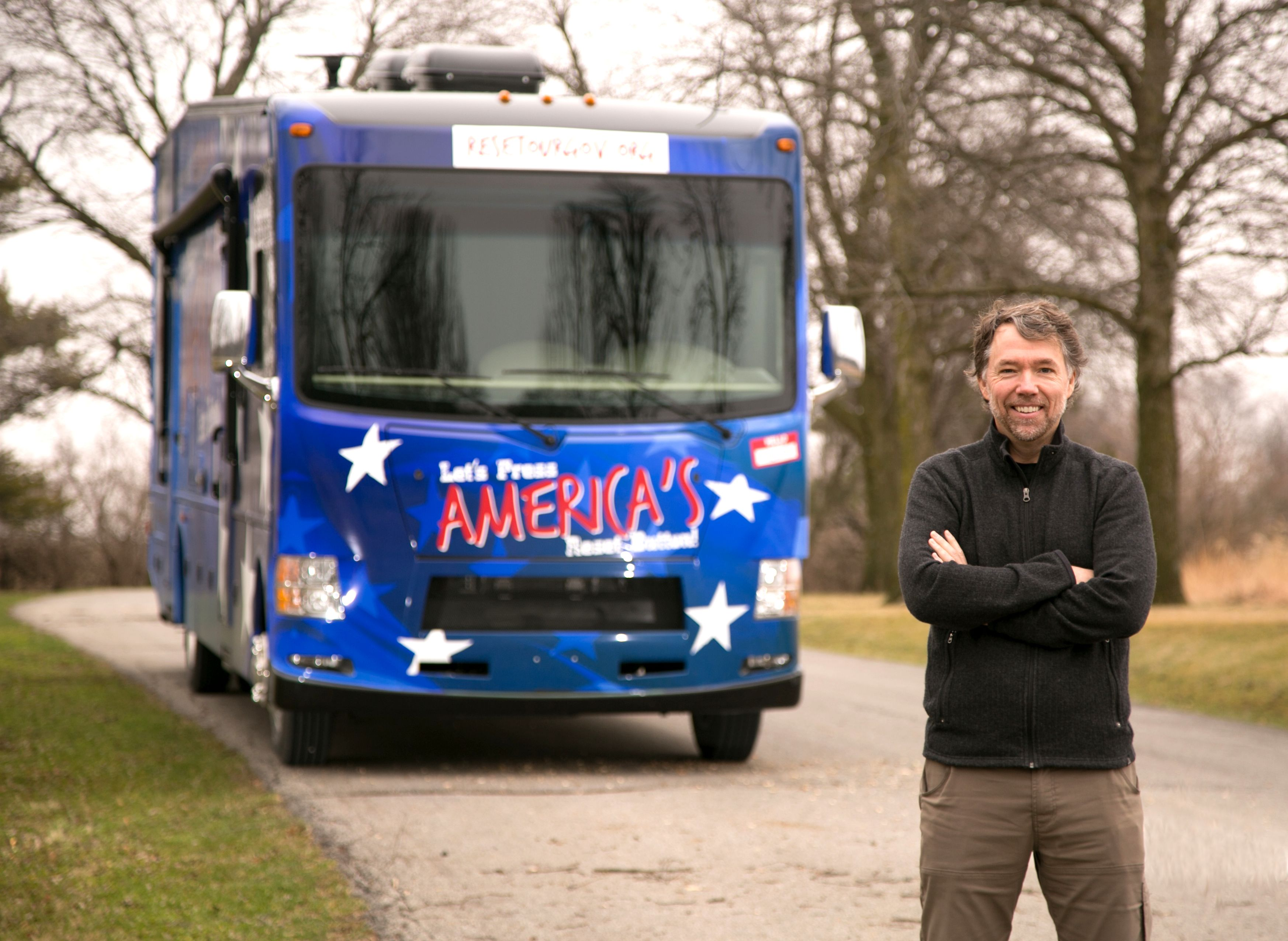 Author Sean Burke with Nelson, the motorhome that acts as the mobile office for Reset Our Gov.
