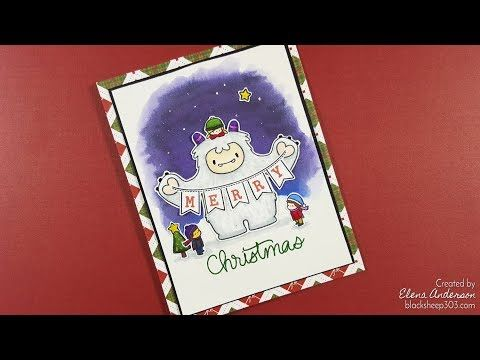 Yeti Merry Christmas Card with Mama Elephant & Spectrum ...
