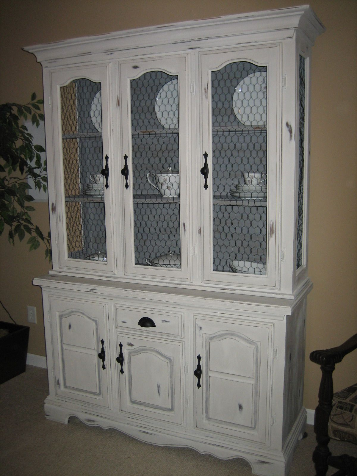 gray distressed china cabinet | salvaged furniture | Pinterest ...