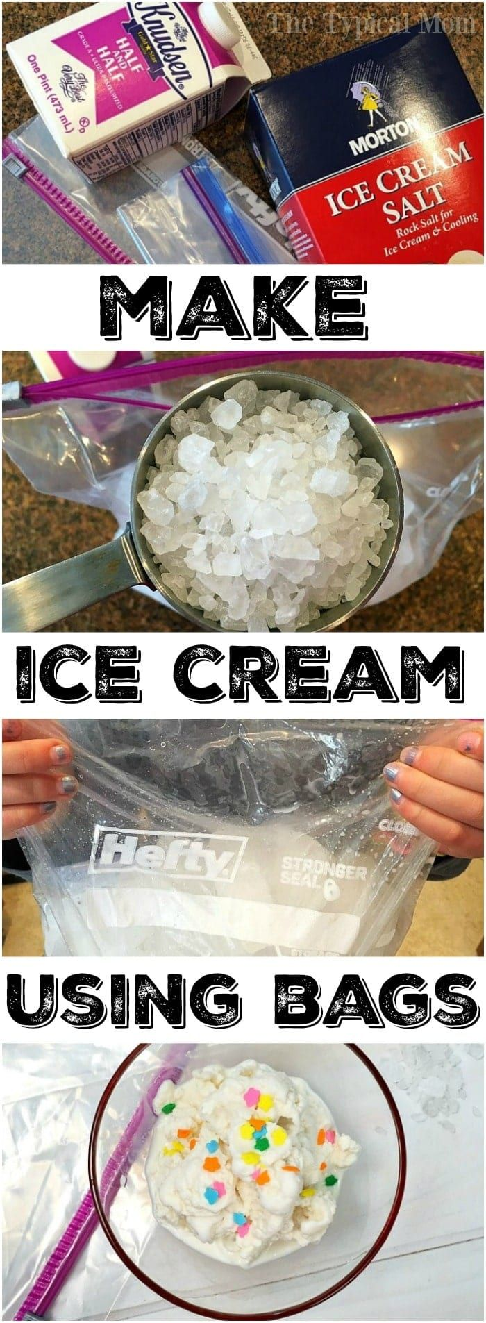 This is how to make ice cream at home using 2 bags!! It's an easy activity to do with your kids that is yummy and easy to do. You just need a few items to make homemade no churn ice cream without the need of an ice cream maker, really! You've got to try this with them this summer. #homemade #icecream #bags #howtomake #easy #recipe #nochurn via @pinterest.com/thetypicalmom #homemadeicecream