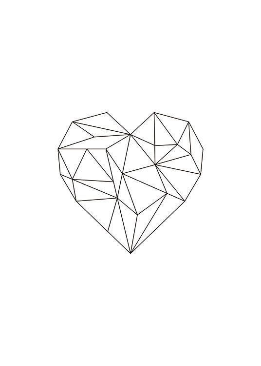 print met geometrisch hart in zwart   interior - hallway in 2019