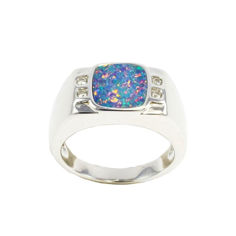 Midnight Galaxy Sterling Silver Men S Australian Black Opal Ring In 2020 Black Opal Ring Opal Rings Silver Opal Ring