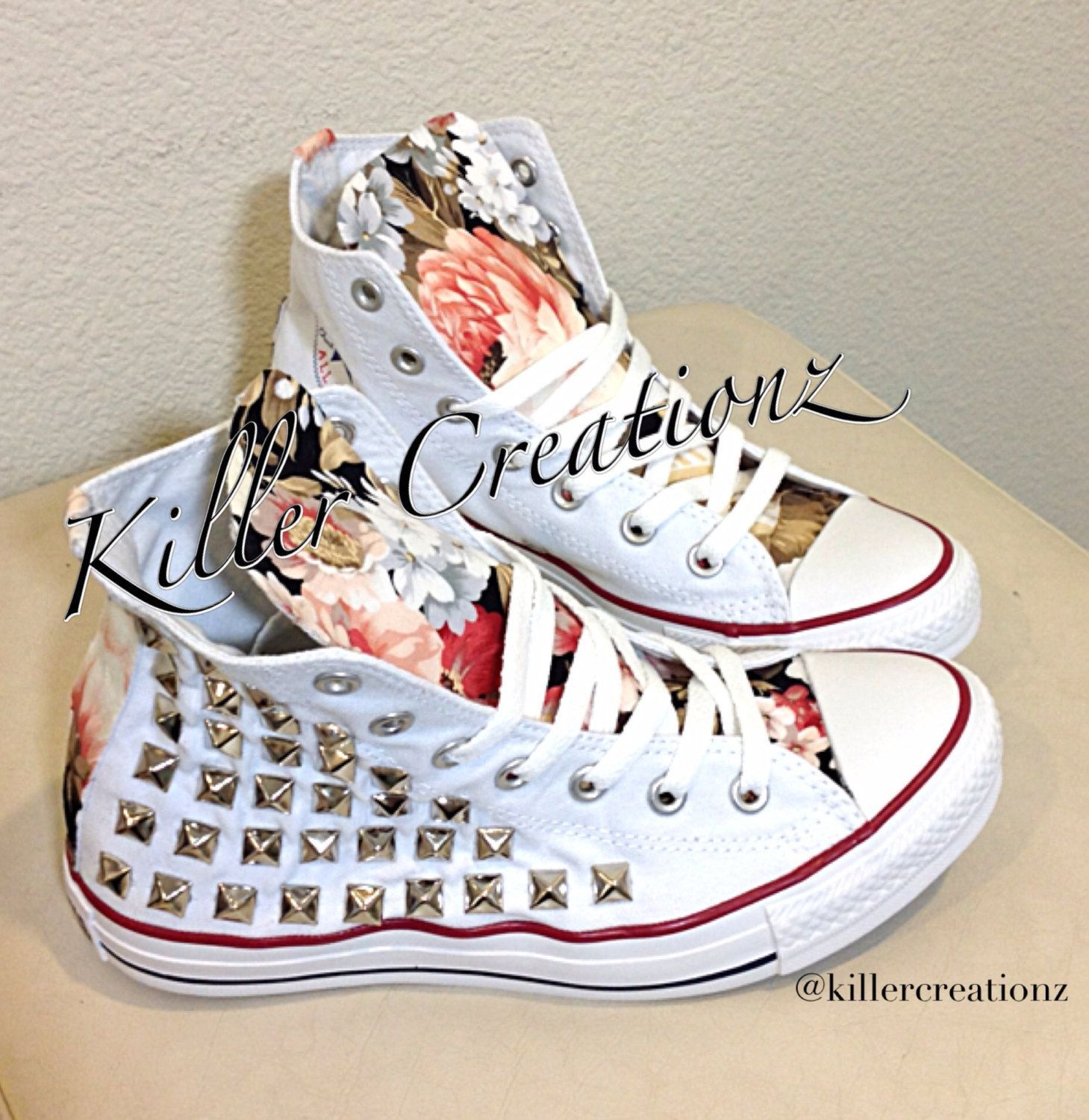 ac55b52e1382 Custom studded Converse Chuck Taylors with floral design ANY SIZE COLOR ( made to order) by KillerCreationz on Etsy  Promshoes
