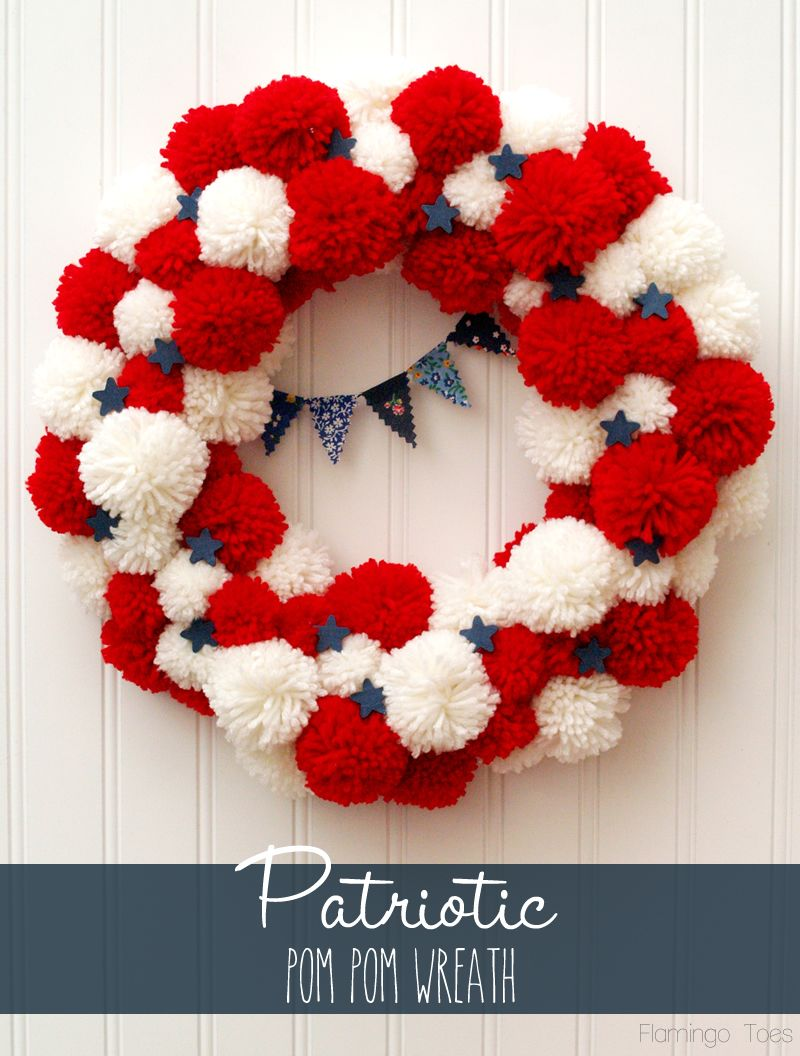 Patriotic Pom Pom Wreath via Flamingo Toes. soo cute!! #4thofjuly