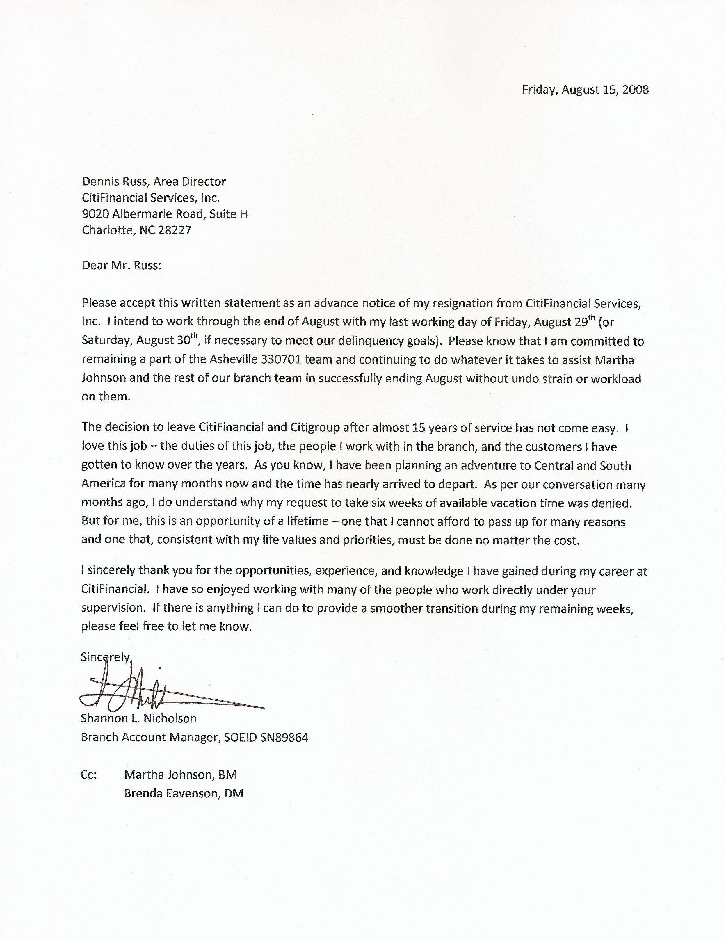 Resignation Letter Formal Letter Sample Letter And Email – Sample Resignation Letters