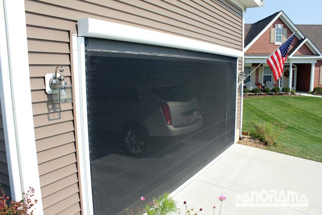 Retractable garage screen for single double and golf for Motorized garage door screens