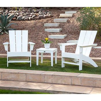 Prescott 3 Piece Adirondack Set By Polywood Backyard Makeover