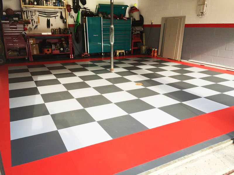 Right After Installation Of Exelia Tiles. #GarageFlooring
