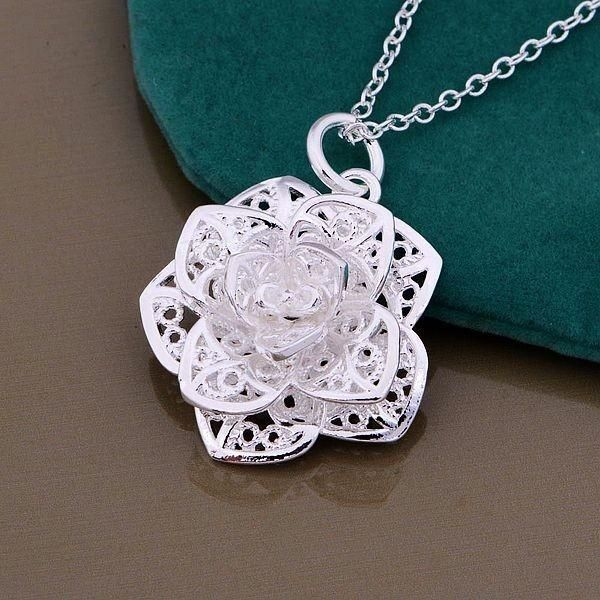Sterling Silver Rhodium-plated Lotus w//Om Center Pendant
