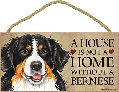 Bernese Mountain Wood Dog Sign Wall Plaque 5 x 10 - A House Is Not A Home