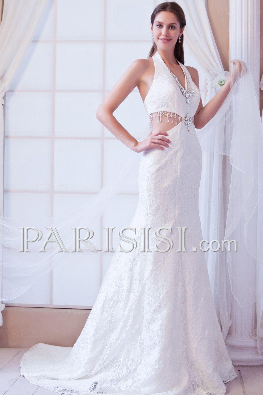 vestidos de novia Corte A Halter V-cuello Marfil Encaje Cristals Chapel Hasta Suelo Clásico Tul Encaje Sin Mangas Cremallera