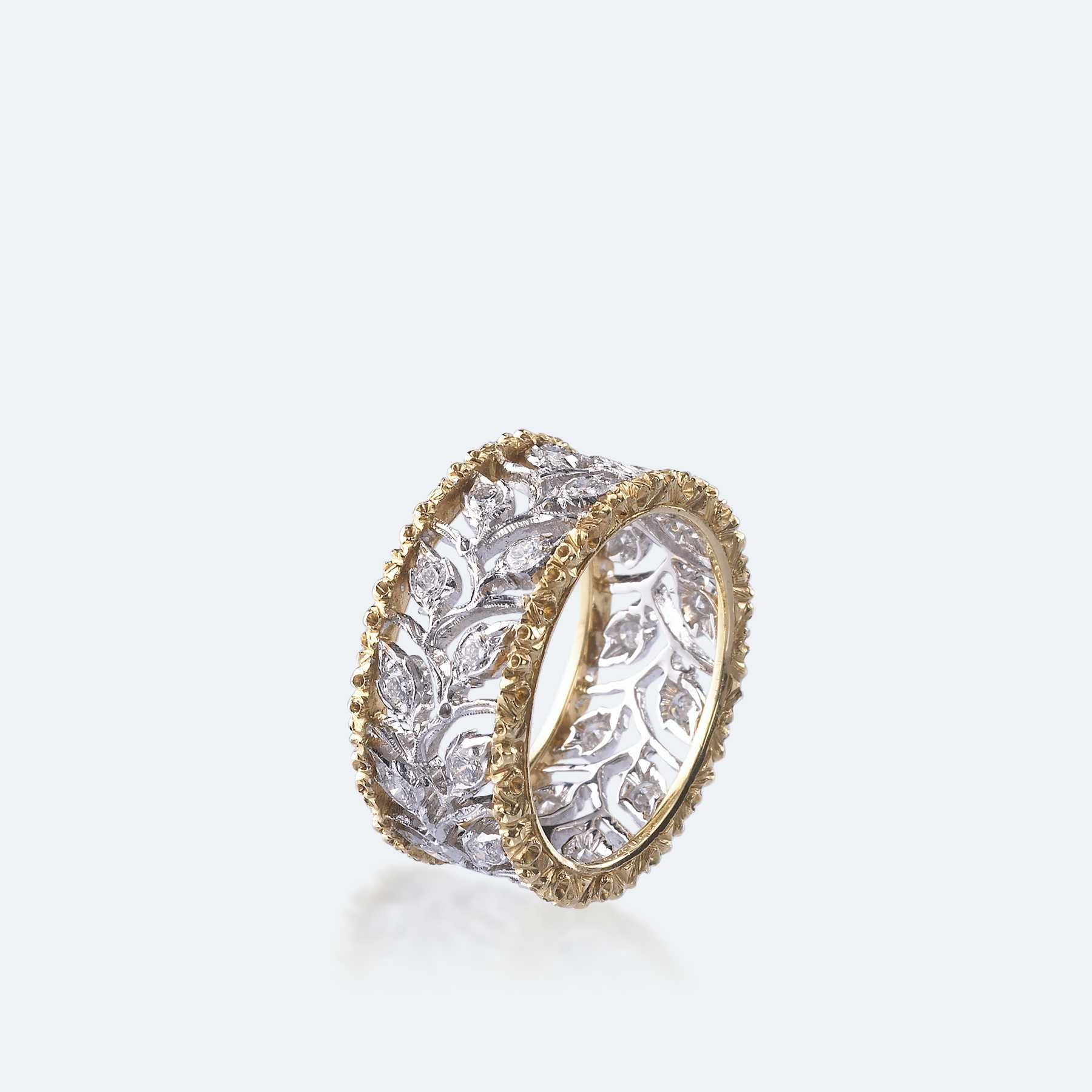 Buccellati Ramage Eternelle 18-karat White And Yellow Gold Diamond Ring h4v1G