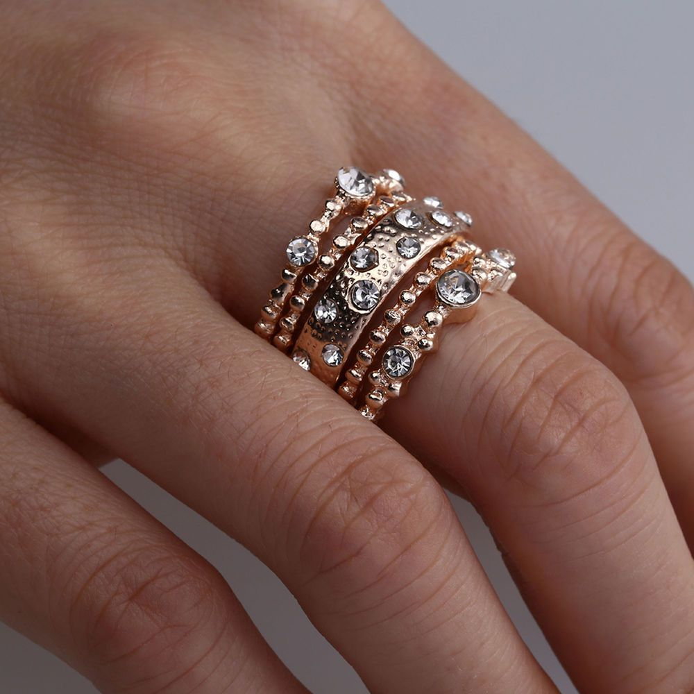 Womens Crystal Rose Gold Stackable Ring 5Pcs//Set Finger Boho Engagement Jewelry
