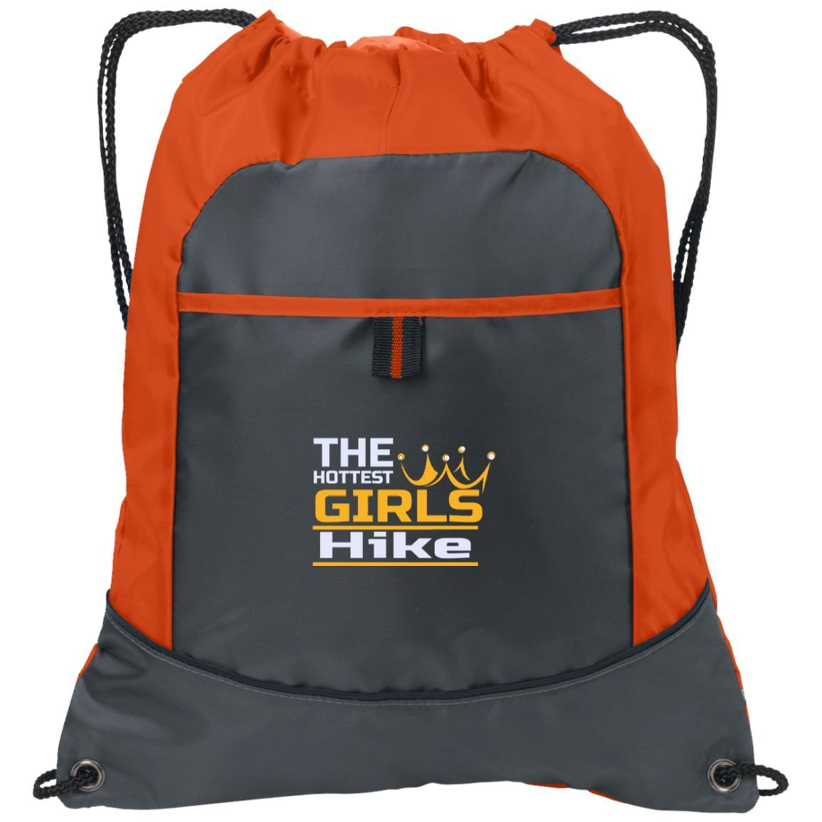 1605b79b18ab The Hottest Girls HIKE Cinch Bag w Custom Embroidered Design Two-Tone  Pocket Drawcord Close Pack Backpack Polyester School Hiking Camping