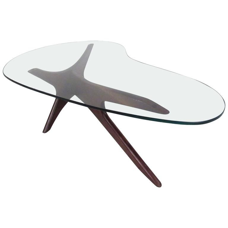 MidCentury Modern Kidney Shaped Coffee Table In The Style Of Adrian - Mid century modern kidney shaped coffee table