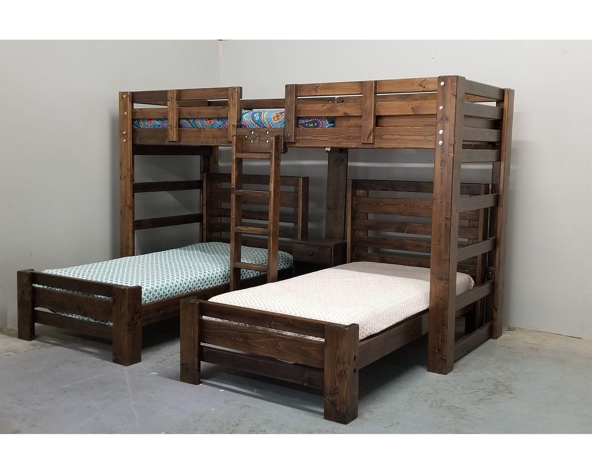 Triple Wall Bunk Bed Unique Bedroom Bunk Bed Set Solid Wood Etsy Bunk Bed Sets Diy Bunk Bed Triple Bunk Beds