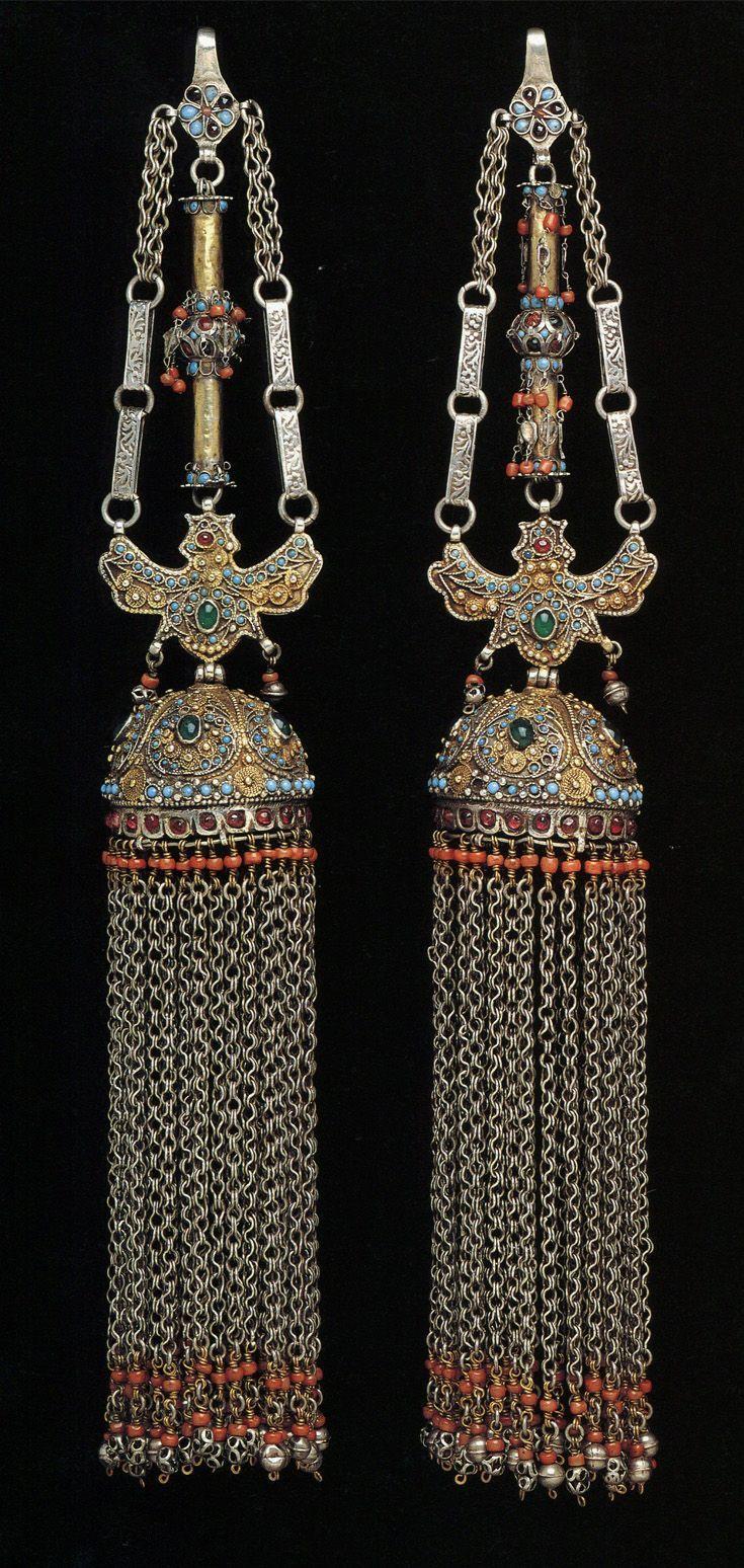 Uzbekistan pair of temple pendants partly fire gilded silver uzbekistan pair of temple pendants partly fire gilded silver turquoise coral mozeypictures Choice Image