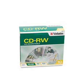 Cd-Rw Discs, 700mb/80min, 2x/4x, Slim Jewel Case, Matte Silver, 10/pack