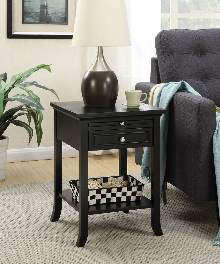 Cherry 7102045CH Convenience Concepts American Heritage Logan End Table with Drawer and Slide