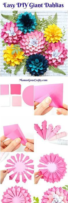 How to make giant paper flower dahlias. Flower Templates. DIY Paper Flowers. How to make a flower wall. #giantpaperflowers